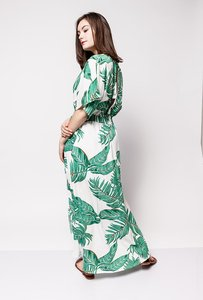 Scarfz maxi dress tropische print wit groen