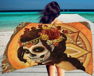 Scarfz Ibiza lang strandlaken towel Dia de los Muertos day of Dead skull doodshoofd