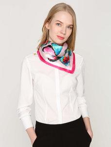 Scarfz vierkant zijde sjaaltje butterfly blauw blue roze pink