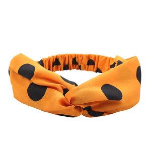 Scarfz haarband Polka oranje zwart