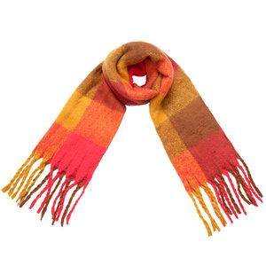 Scarfz lange warme dames sjaal colored blocks oranje