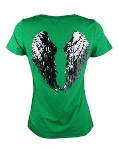 Groen shirt Silver Wings Glitter Pailletten Vleugels