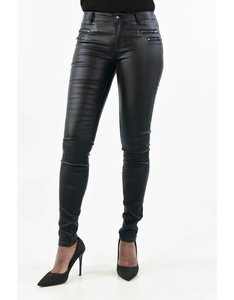 c219b8c6482 Coated broek met ritsjes|Zwart|Wax coating