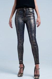 Gouden skinny broek met slangenprint