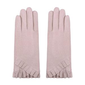 Scarfz warme dames handschoenen pleated blush pink poederroze gloves