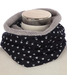 Warme kindersjaal Hearts|Blauwe col sjaal kinderen|Gevoerde sjaal|Hartjes print