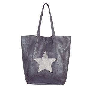 Shopper bag City Star|Grijs|PU leder|Ster|Met kleine tas erin