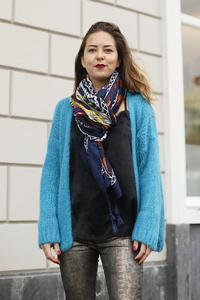 Gebreid fluffy vest Alexandre Laurent Turquoise Blauw mohair
