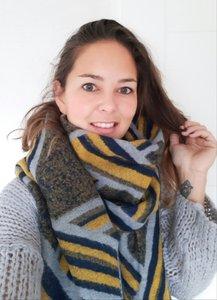 Lange dames sjaal Fancy|Blauw grijs geel|Dikke kwaliteit|Strepen