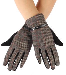 Zachte dames handschoenen Tartan Buckle|Zwart bruin|Geruit geblokt|warme handschoenen