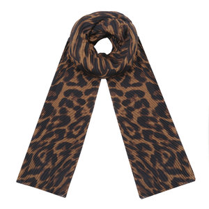 Lange dames sjaal Dark Leo|Luipaardprint|Bruin zwart|Golfjes