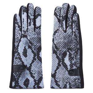 Scarfz handschoenen snake bruin slangenprint blauw