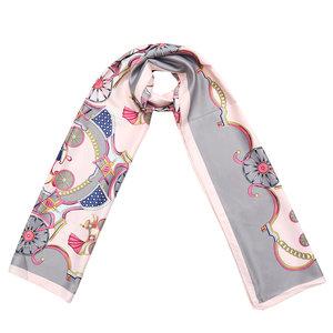 Scarfz zijdezachte dames sjaal Silky Circus roze grijs