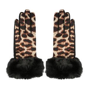 Scarfz dames handschoenen Leopard fur luipaard bont