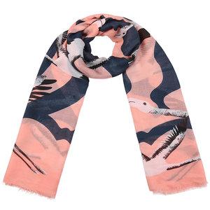 Scarfz lange dames sjaal lichtroze blauw flamingo scarf pink blue