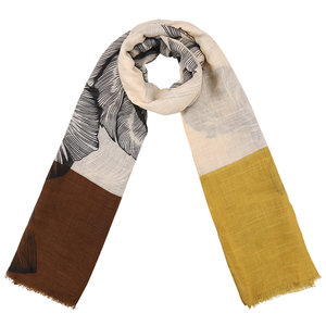 Scarfz lange dames sjaal art foliage geel oker bruin beige