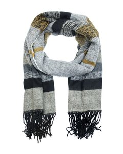Lange dames heren sjaal Max|Zwart grijs beige|Warme winter sjaal|Gestreept