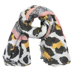 Lange dames sjaal Jungle Wildlife|Voorjaars shawl|Slangenprint Luipaard|Geel roze grijs