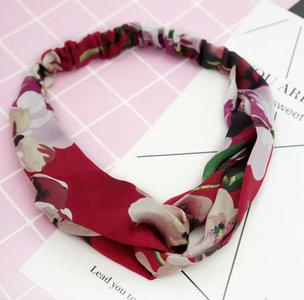 Haarband Silky Floral|Zijdezacht|Rood Roze Groen