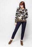 Scarfz warme dames trui sweater camouflage khaki